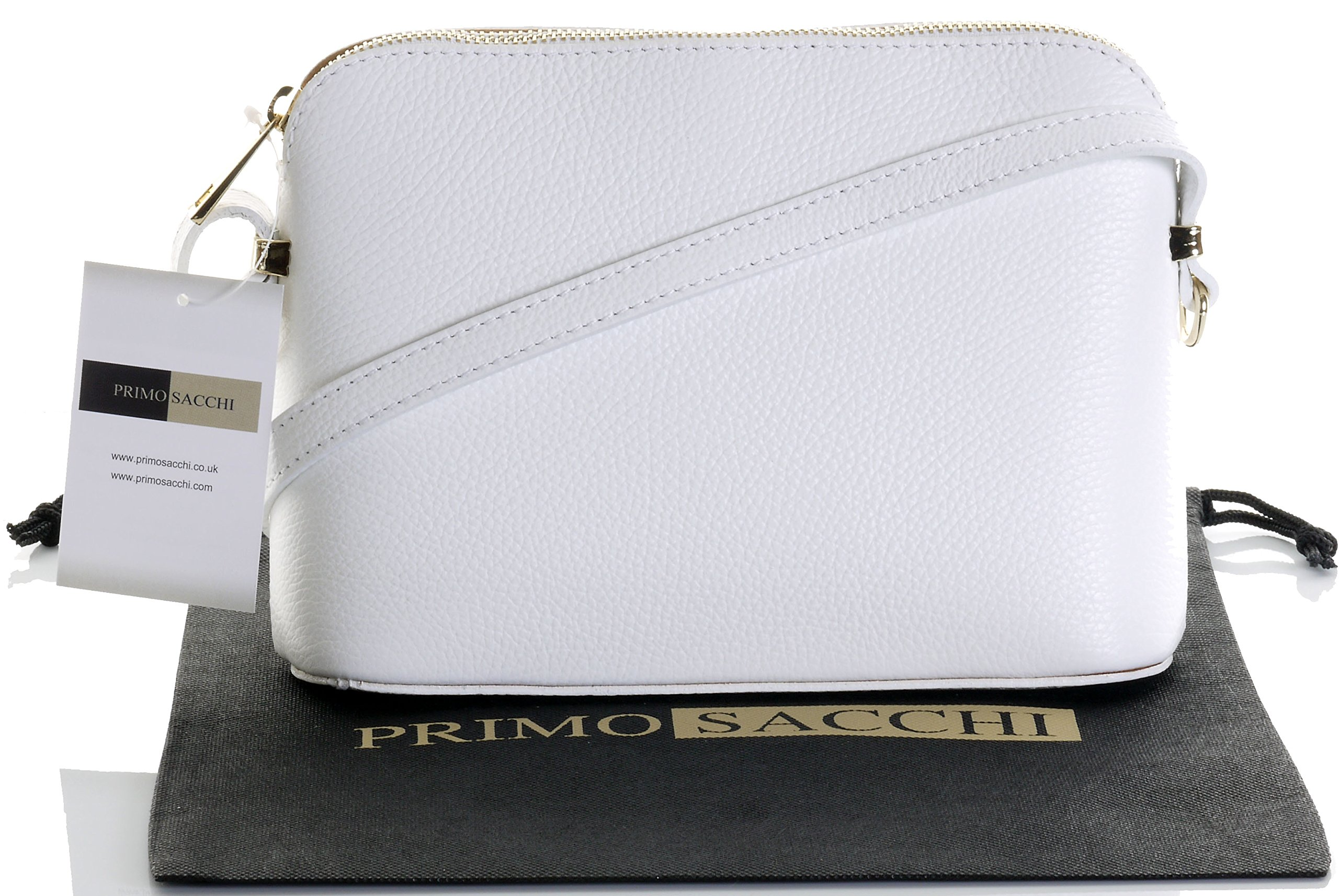 Italian Textured White Leather Hand Made Small Triangular Adjustable Strap Shoulder or Crossbody Bag. Includes a Branded Protective Storage Bag