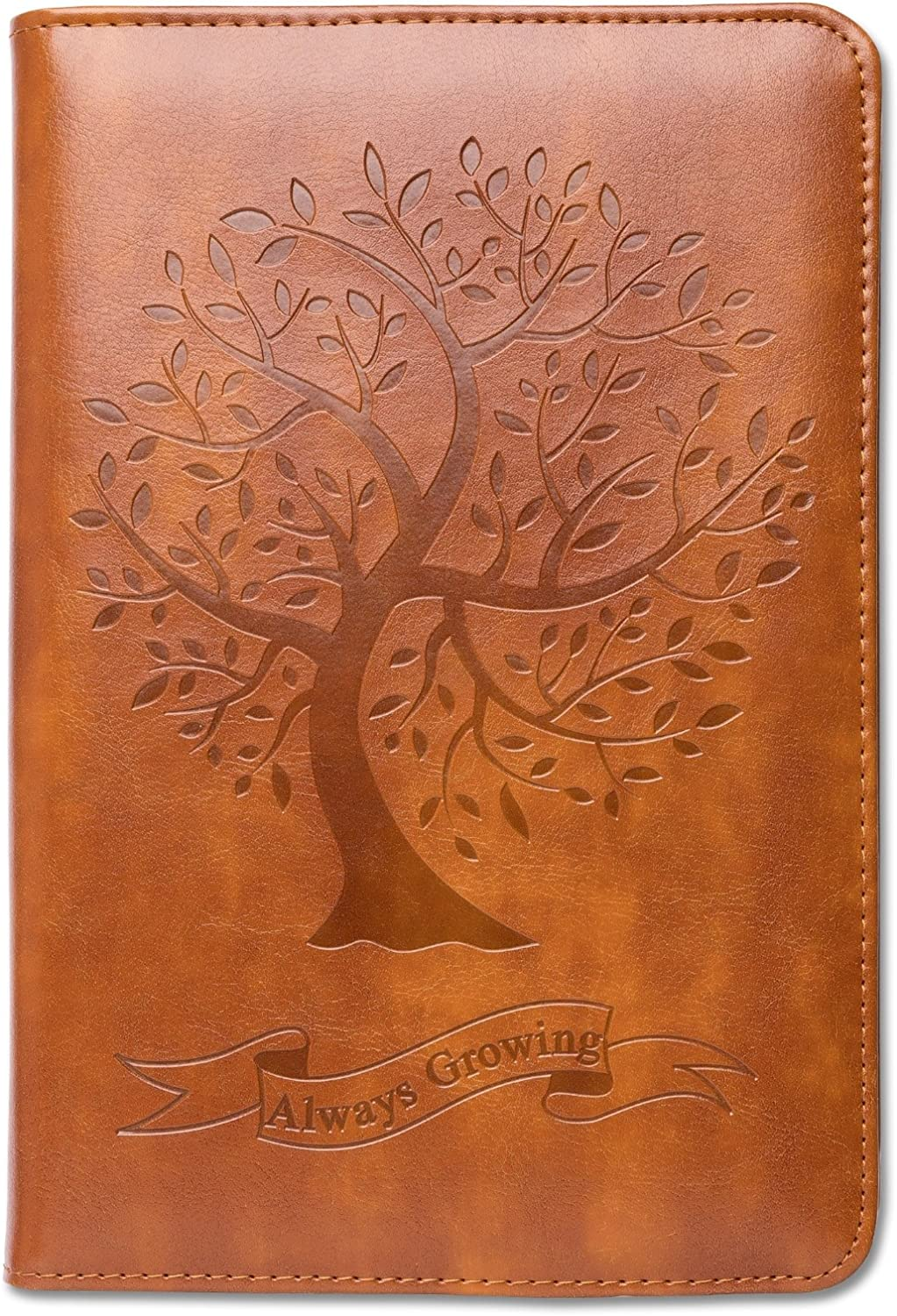 Tree Journal, Writing Journal, Personal Diary, A5 Lined Journal, Writers Notebook, Personal Journal, Faux Leather Journal, Refillable, Gift for Writers and Travelers, Men or Women, Fountain Pen Safe