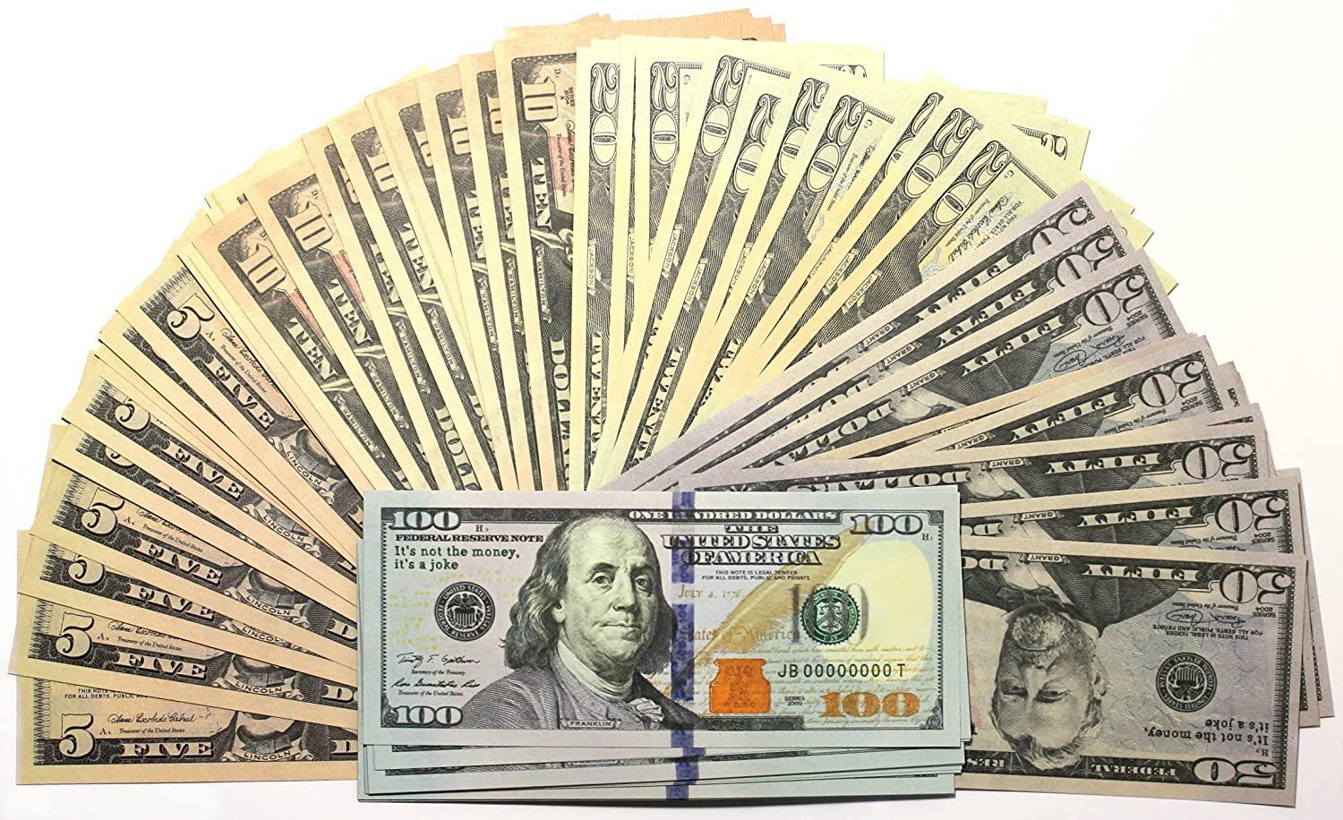 Prop money full print 2 sided  hight quality paper  Set of: $5  $10  $20  $50  $100 dollar bills  (3700$)  for Movie  TV  Videos  Pranks  Birthday party  Play board games  Photography Solodka-Mariia