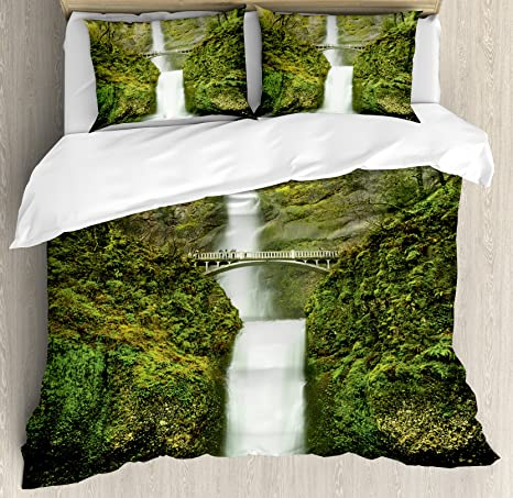 Ambesonne Hobbits Duvet Cover Set Falls Of Rivendell Multnomah Waterfall Oregon With Hobbit Elf Path Bridge Scene Image Decorative 3 Piece Bedding Set With 2 Pillow Shams Queen Size Green Home