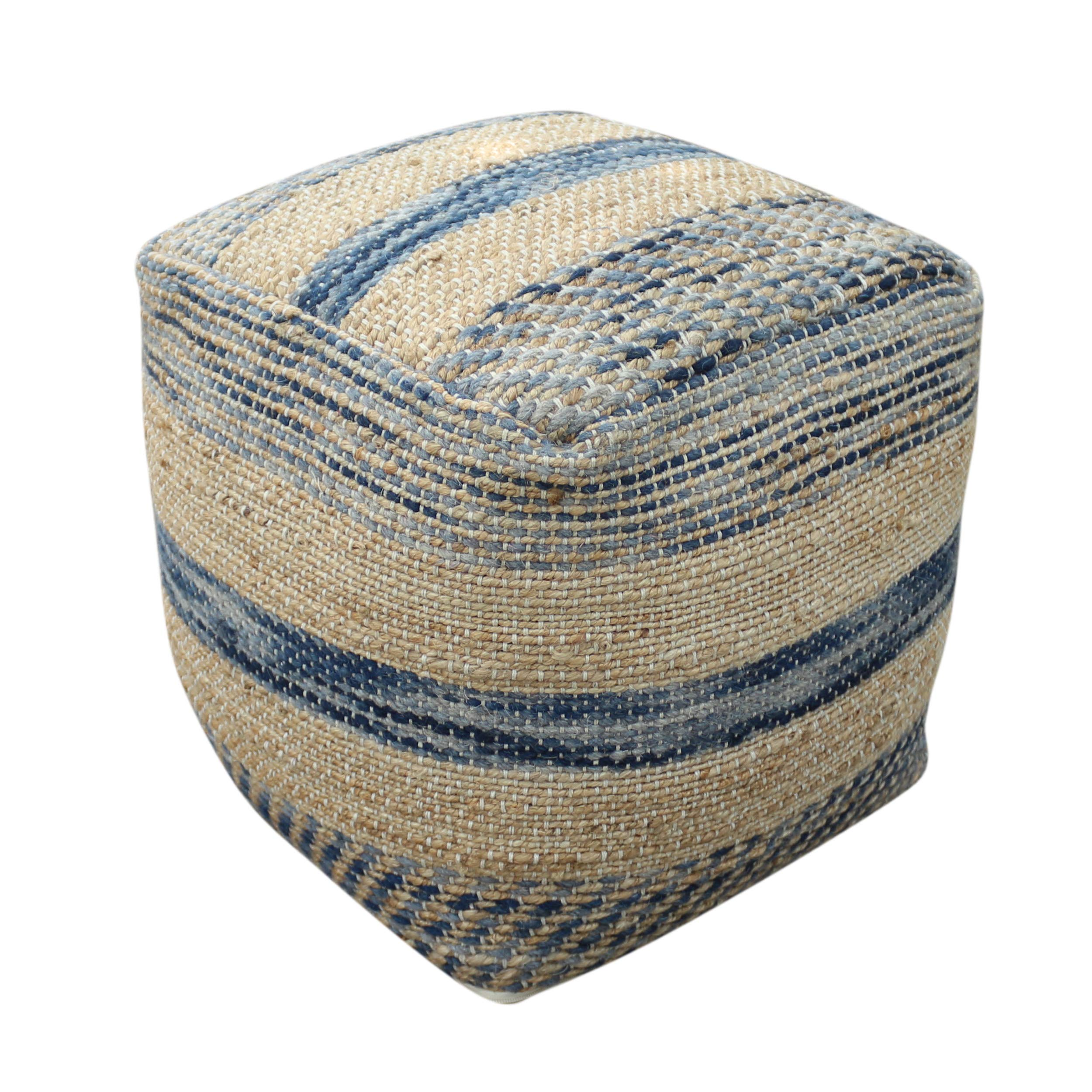 Lola Boho Hemp and Wool Pouf, Natural and Blue