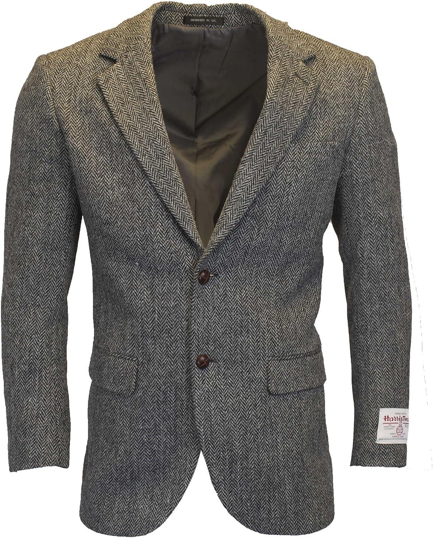 Walker & Hawkes - Mens Classic Scottish Harris Tweed Herringbone Country Blazer Jacket - Steel Gray - 38-48