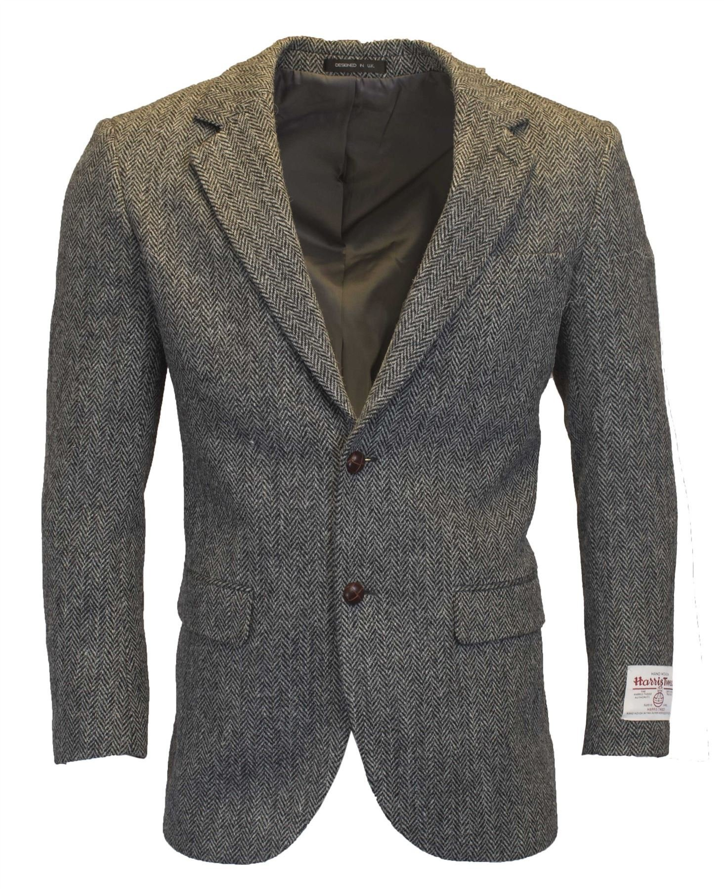 Walker and Hawkes Mens Classic Scottish Harris Tweed Herringbone Country Blazer Jacket - Steel Gray - 44 by Walker and Hawkes