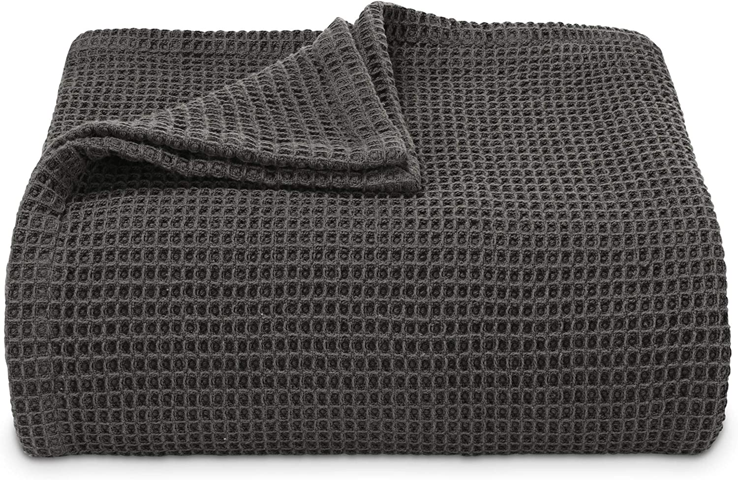 Vera Wang | Waffle Weave Collection | 100% Cotton Soft and Cozy Textured Plush Blanket for Sofa Couch or Bedroom, Modern Stylish Home Décor, King, Charcoal