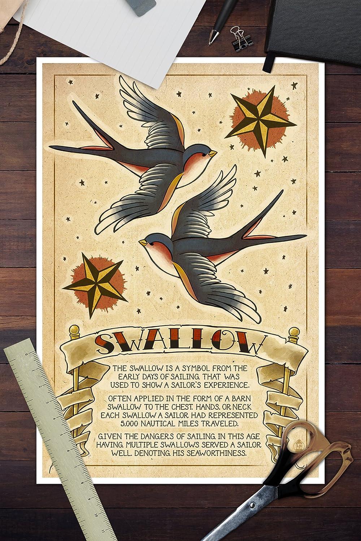 Amazon.com: Tattoo Flash Sheet - Swallow (12x18 Art Print, Wall ...