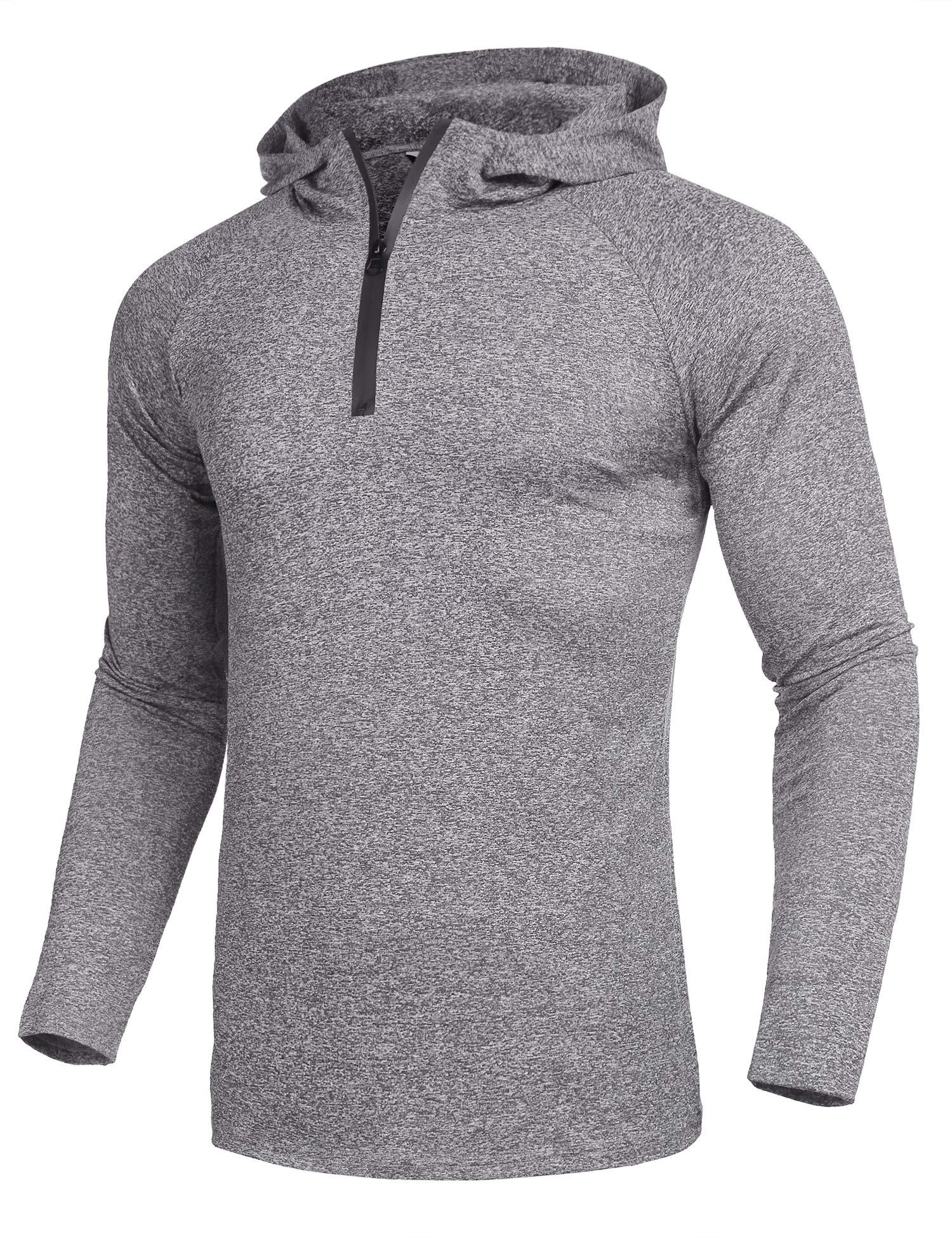 COOFANDY Men's Active Quarter Zip Hoodies Training Athletic Pullover Shirt