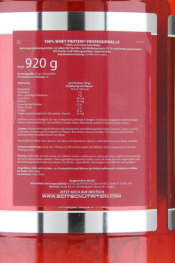 Scitec Nutrition 100% Whey Protein Suplemento Nutricional de Proteinas con Sabor de Vainilla, 920 g: Amazon.es: Salud y cuidado personal