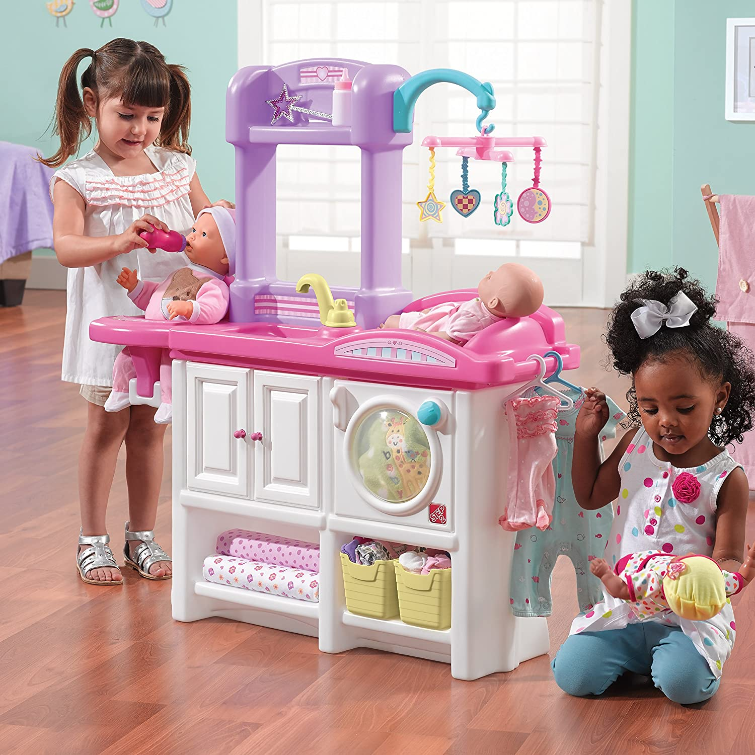 Toy baby doll changing table and crib amazoncom step2 love and care deluxe nursery playset toys games geotapseo Image collections