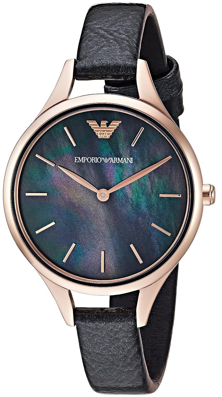 e149ee835 Amazon.com: Emporio Armani Women's Dress Watch Stainless Steel Quartz  Leather Calfskin Strap, Black, 10 (Model: AR11056): Emporio Armani: Watches