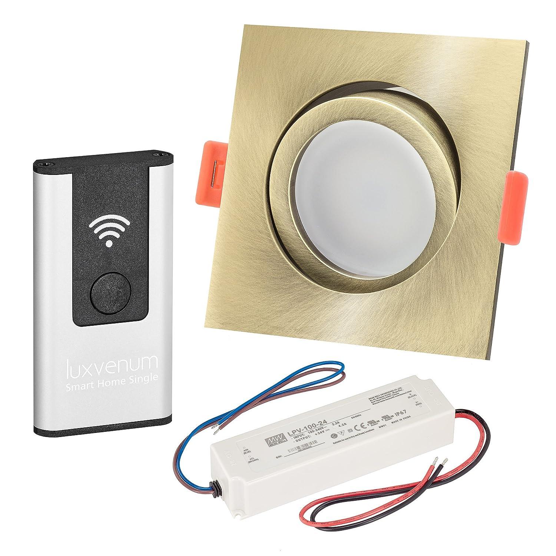 LUXVENUM   10er-Set Alexa Echo Smart Home kompatible LED-Einbaustrahler 230V extra flach 25mm DIMMBAR 6W statt 70W Bronze-gebürstetes Aluminium & Milchglas eckig warmweiß 3000K