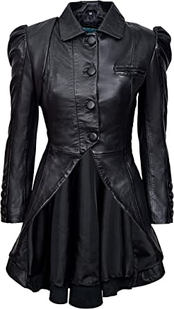 Black Ladies Woman/'s Vintage Soft Washed Real Leather Jacket Trench Coat