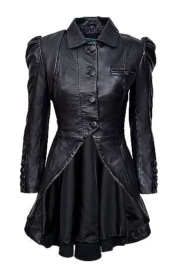 3cd4fedd Smart Range Kristen Tailcoat Ladies Real Leather Gothic Victorian Steampunk  Aristocrat Black Jacket Coat 5003