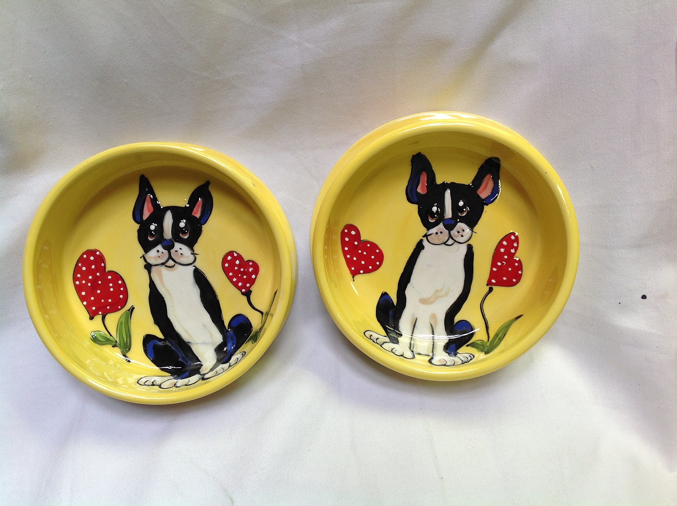 French Bulldog 8'' and 6'' Pet Bowls for Food and Water, Personalized at no Charge. Signed by Artist, Debby Carman.