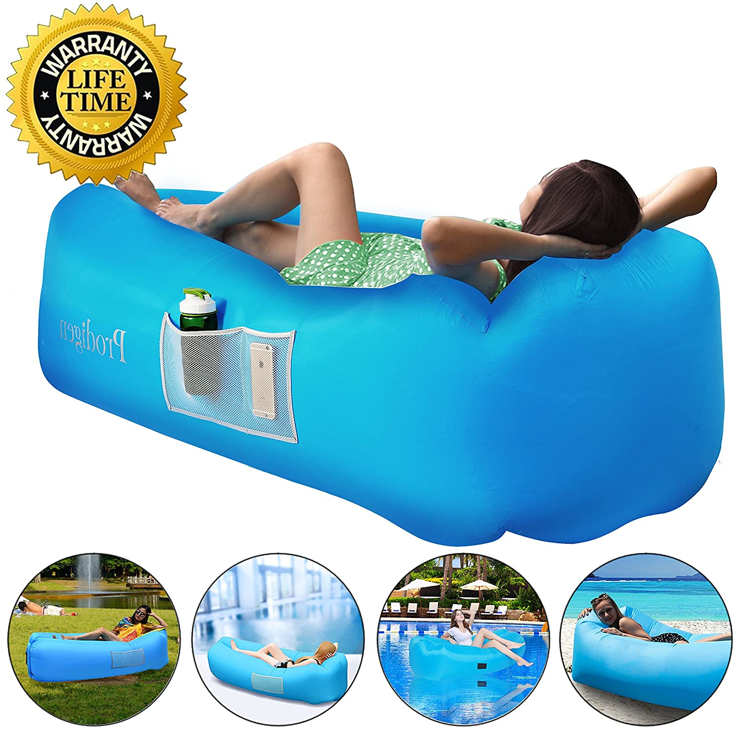 Prodigen Inflatable Lounger Chair, Air Sofa Inflatable Couch Outdoor  Anti Air Leaking Waterproof Portable Inflatable Hammock Air Couch Pool,  Floor, Camping, ...