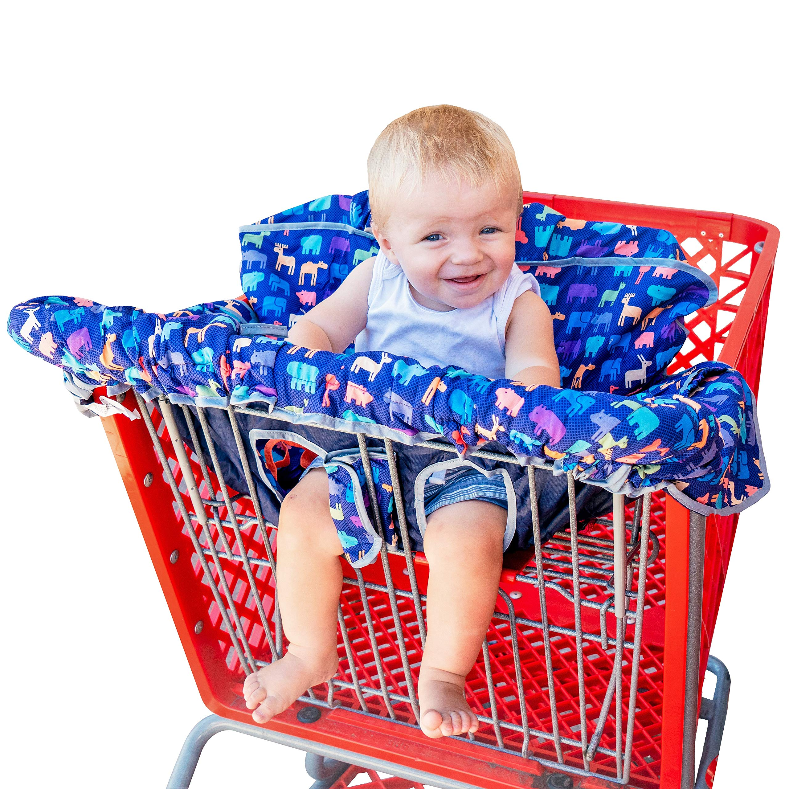 New from Busy Bambino: 2-in-1 shopping cart/high chair cover perfect for you and your baby. Now available in a beautiful animal print. Buy Now! by Busy Bambino (Image #1)