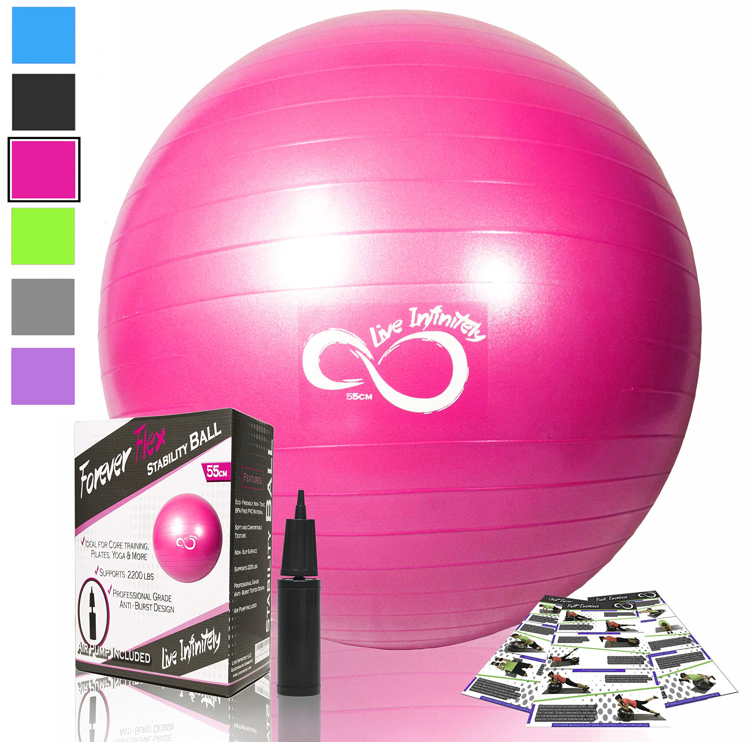 Live Infinitely Exercise Ball (55cm-95cm) Extra Thick Professional Grade Balance & Stability Ball- Anti Burst Tested Supports 2200lbs- Includes Hand Pump & Workout Guide Access Pink 55cm