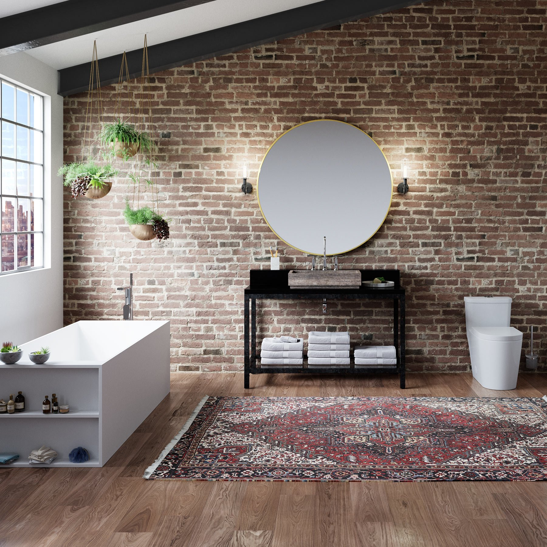 MAYKKE 18 Sq Ft Reclaimed Pecan Luxury Vinyl Interlocking Plank Flooring 48x7 inch | Resembles Hardwood | (Pack of 8) Easy Install in Your Kitchen, Bathroom, Hallway, Living Room | JHA1020101