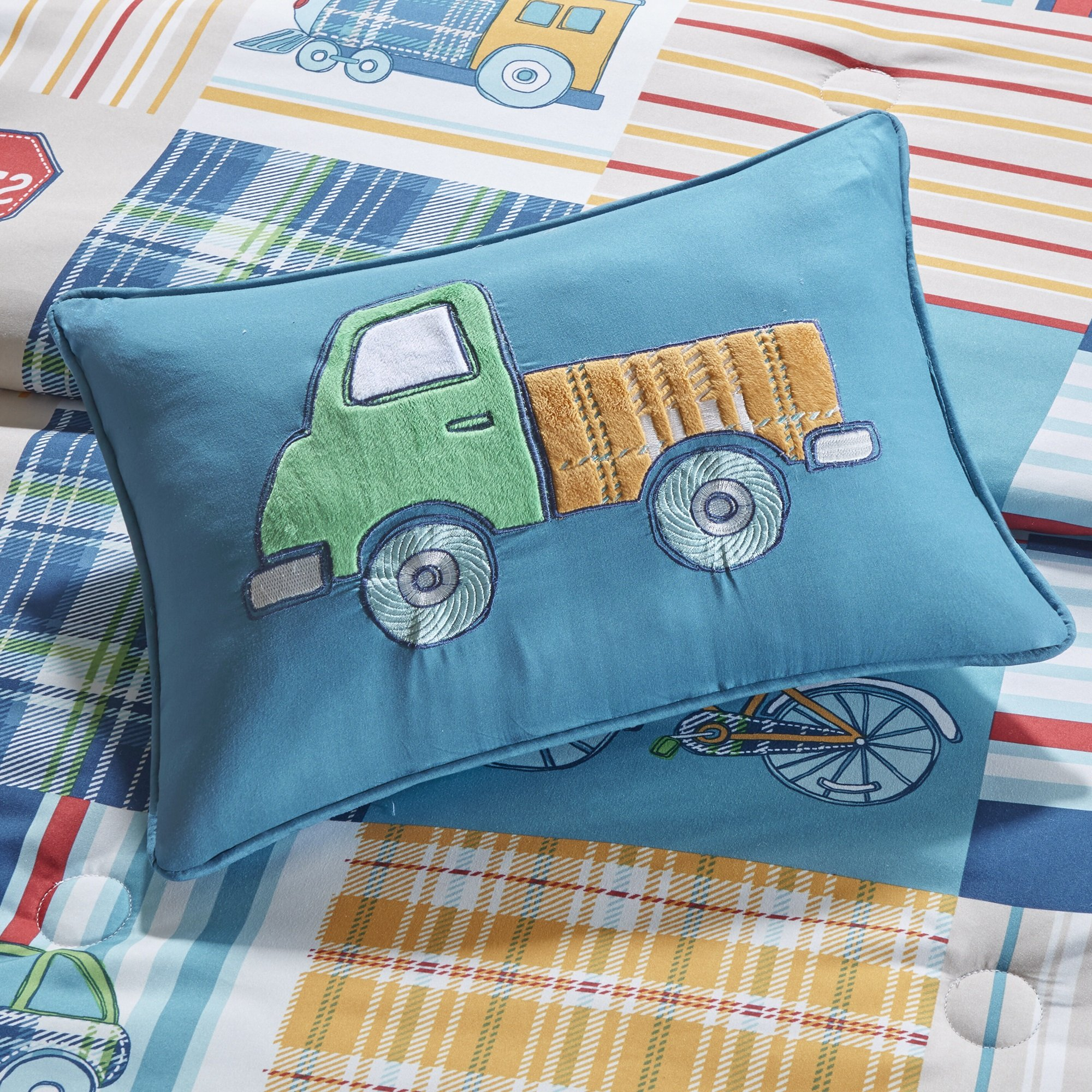 8 Piece Travel Transportation Themed Comforter Set Full Size, Featuring Patchwork Trucks Cars Train Airplanes Road Traffic Road Hazard Sign Bicycle Plaid Checkered Automobiles Kids Bedding, Blue