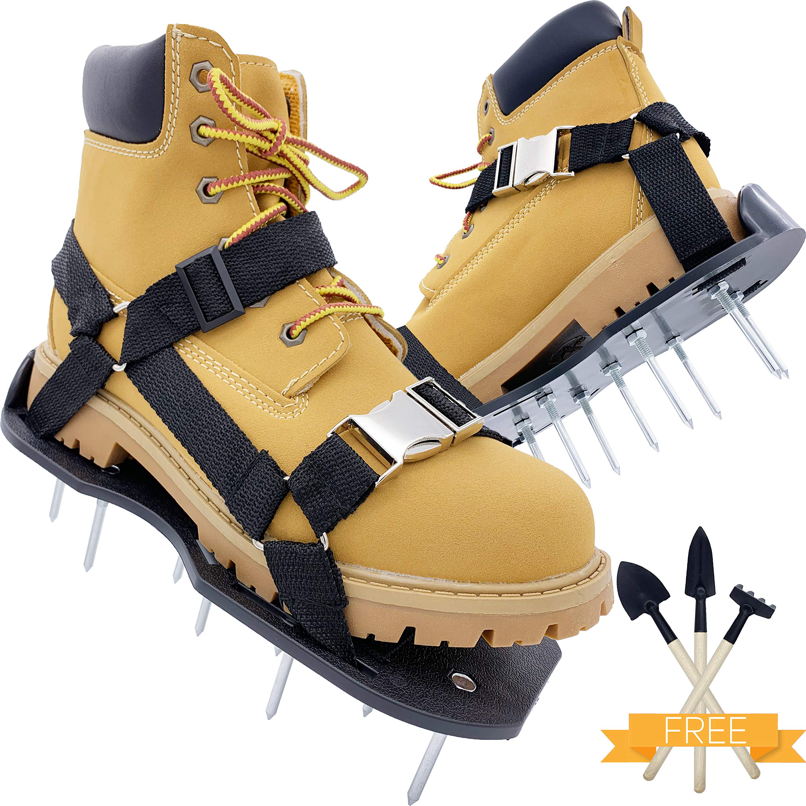 PBC Products Lawn Aerator Shoes with Supportive Straps and Metal Buckles, Heavy Duty Aerating Sandals with Metal Spikes for Lawn and Yard Grass Aeration, Withstand Up to 400LB by PBC Products