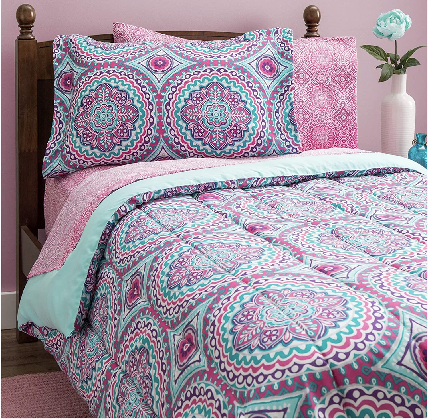 Design Studio Thalia 11-Piece Bag, Comforter with Sheets Medallion, Bohemian, Boho Chic, Microfiber, Teen, Girls, Bedding,Full, Purple/Aqua