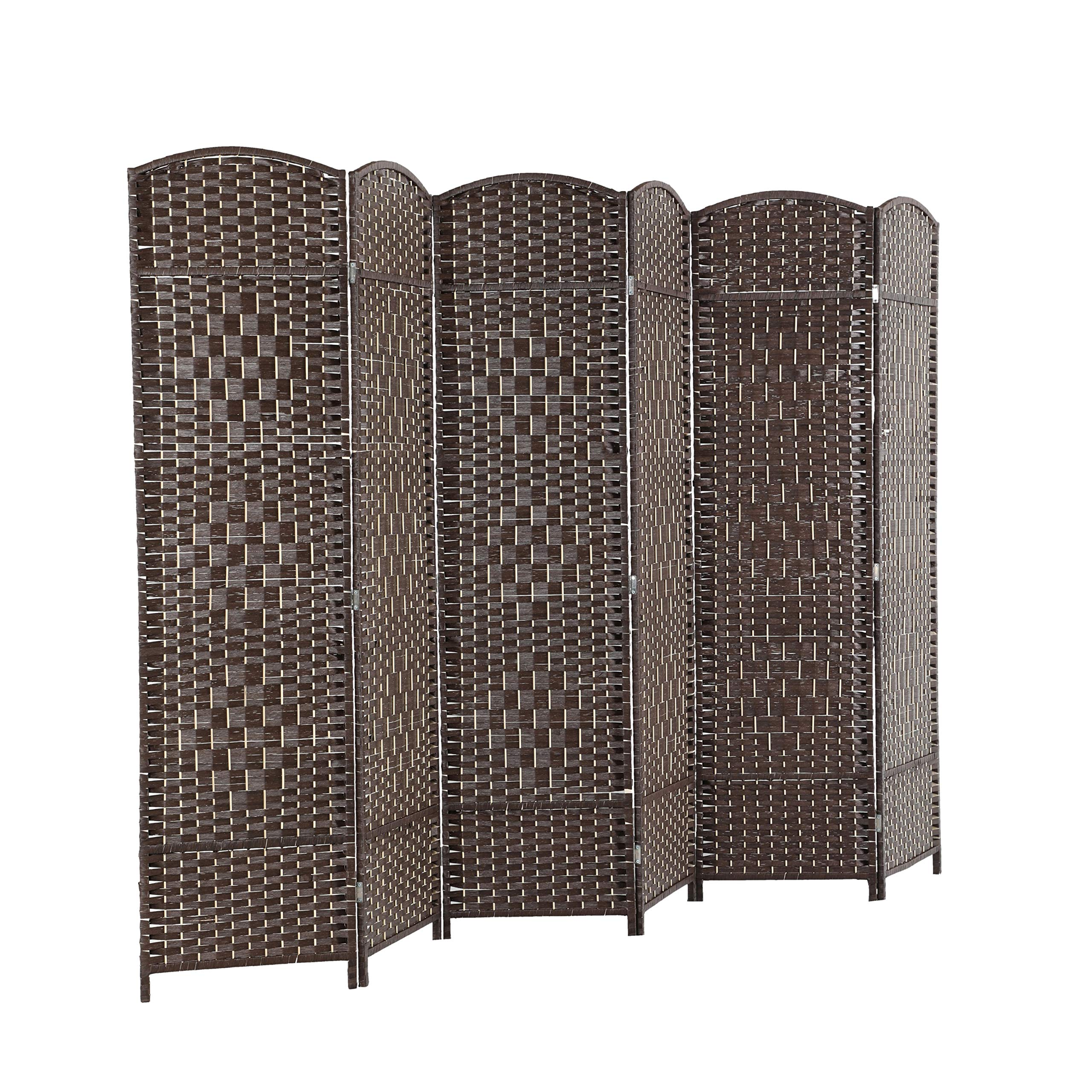 ALPHA HOME 6 Panel Room Divider - 6 FT Tall Extra-Wide Handcrafted Weave Wood Framed Folding Privacy Screen Diamond Pattern, Dark Brown by ALPHA HOME