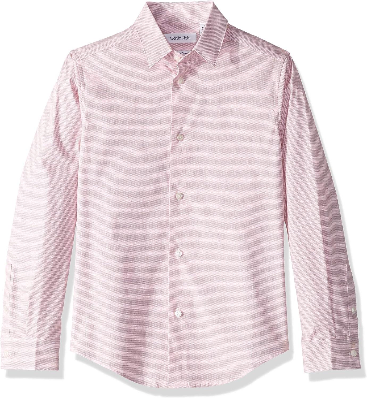 Calvin Klein Boys' Long Sleeve Printed Button-down Dress Shirt
