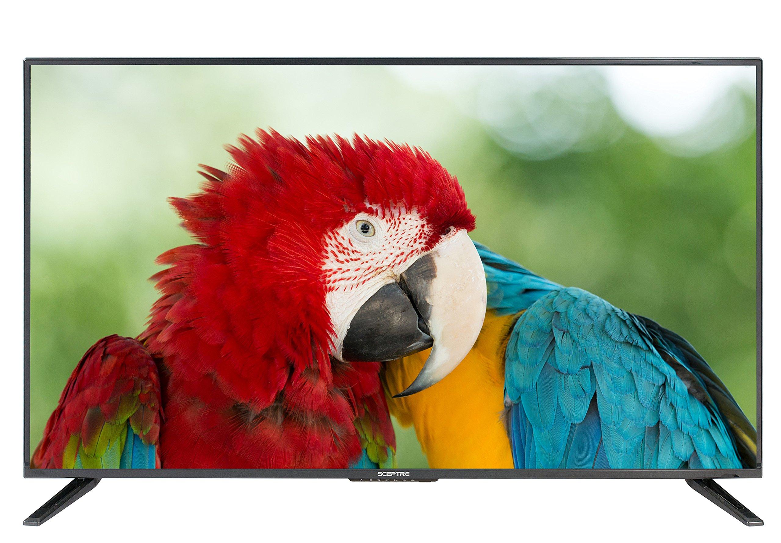 "Komodo by Sceptre 43"" LED HDTV 3X HDMI 2.0 HDCP 2.2 VESA Wall Mount Ready, Metal Black 2018"