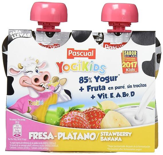 Yogur Pascual Yogikids De Fresa-Plátano Para Llevar Duo 2X80G Caja De 9 Packs