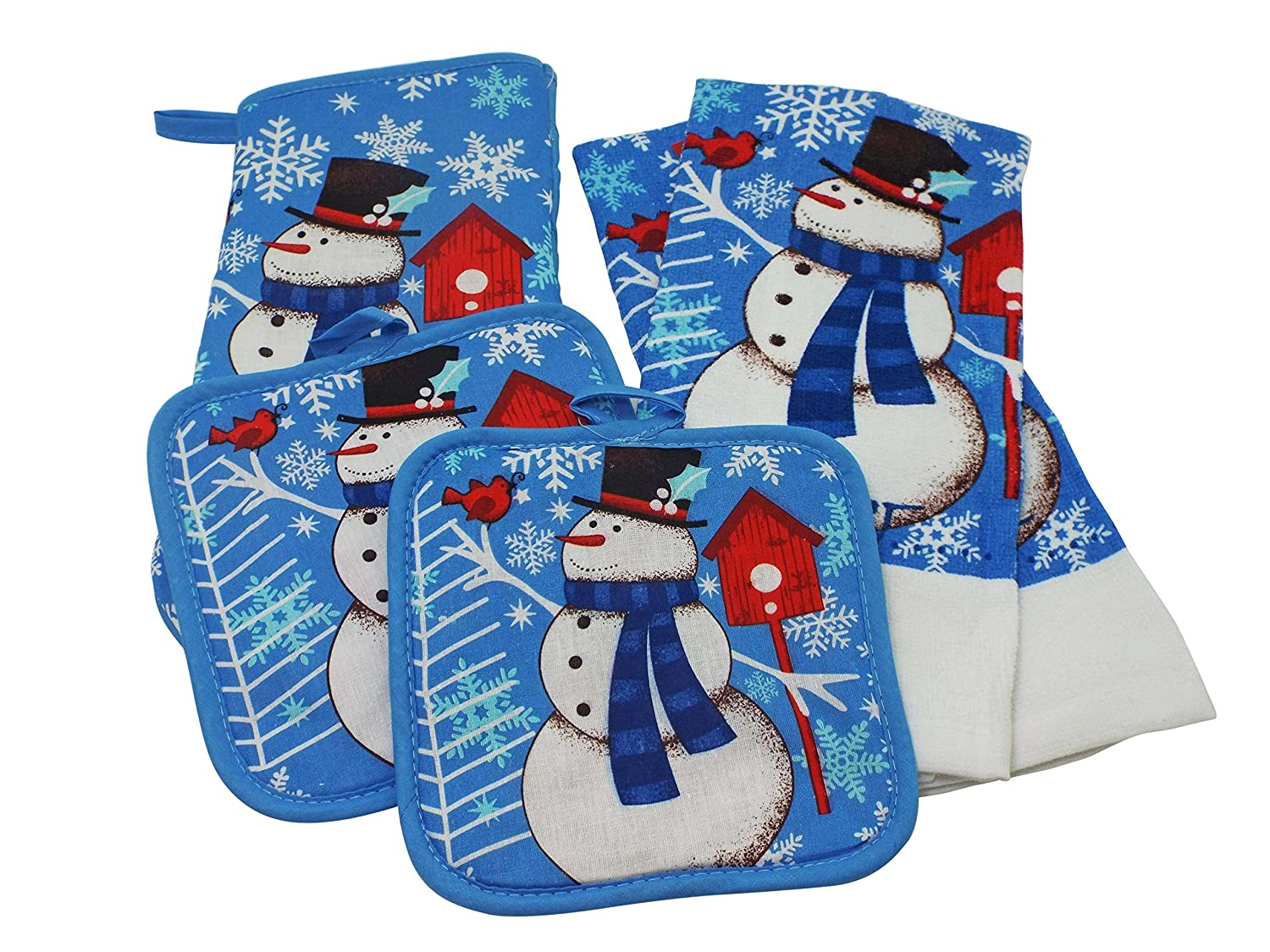 Snowman Kitchen towel and Linen Set - 2 Kitchen Towels, 2 Pot Holders, and 1 Oven Mitt