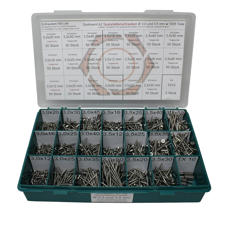 200 Teile Sortiment Edelstahl Spanplatten Schrauben  Torx 3,5 x 16-4,0 x 25