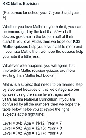 Amazon com: KS3 Math Review Quiz From Education Quizzes