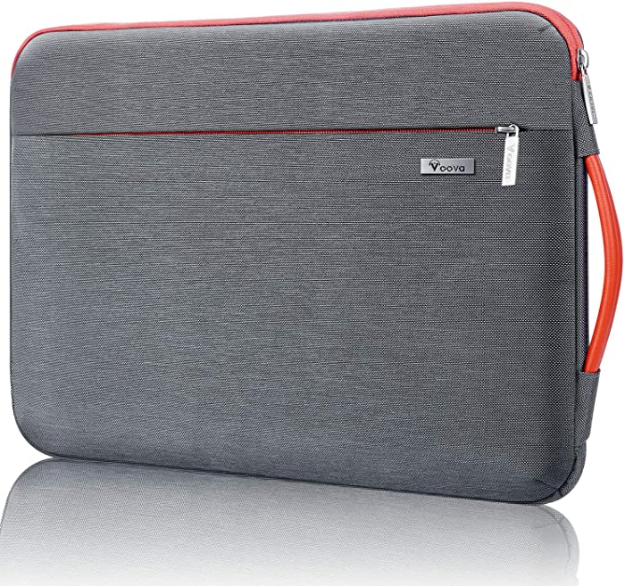 Voova Laptop Sleeve Case, Upgrade 360° Protective Computer Hand Bag Compatible with MacBook Pro 16 15, Surface Book 3 2 15, 14 15.6 Inch Asus Acer Dell Hp Chormebook Cover with Organizer Pocket, Grey