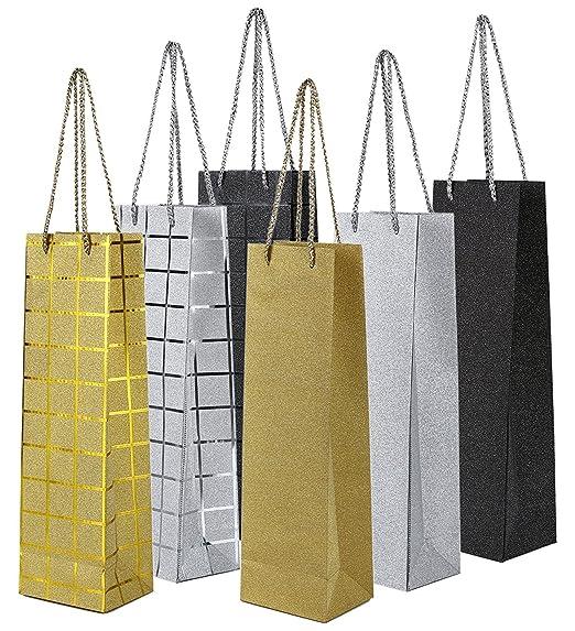 Juvale Bolsas de regalo de vino con asas (paquete de 6) - Diseños ...