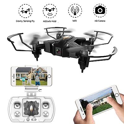 Mini RC Quadcopter Drone avec caméra 0.3MP Wifi FPV Pliable Télécommande drone pour enfants 2.4G 4CH 6Axis Hélicoptères stables pour débutants