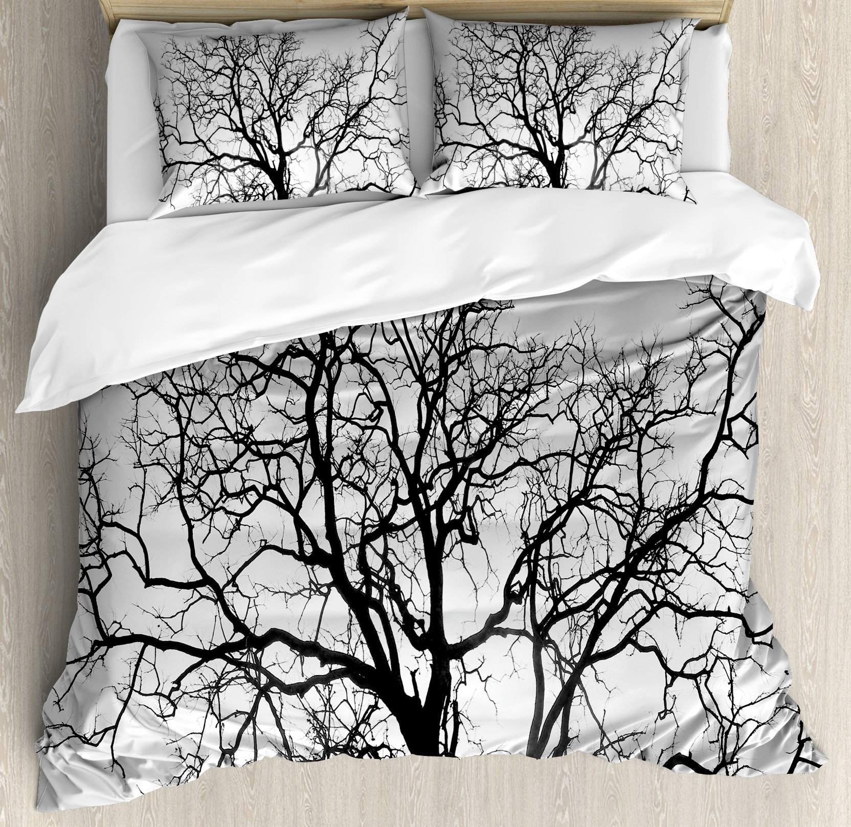 Forest Home Decor Duvet Cover Set by Ambesonne, Dead Old Branches Arms Limbs Sadness Symbol Tree of Life Offshoot Picture, 3 Piece Bedding Set with Pillow Shams, King Size, Grey Black