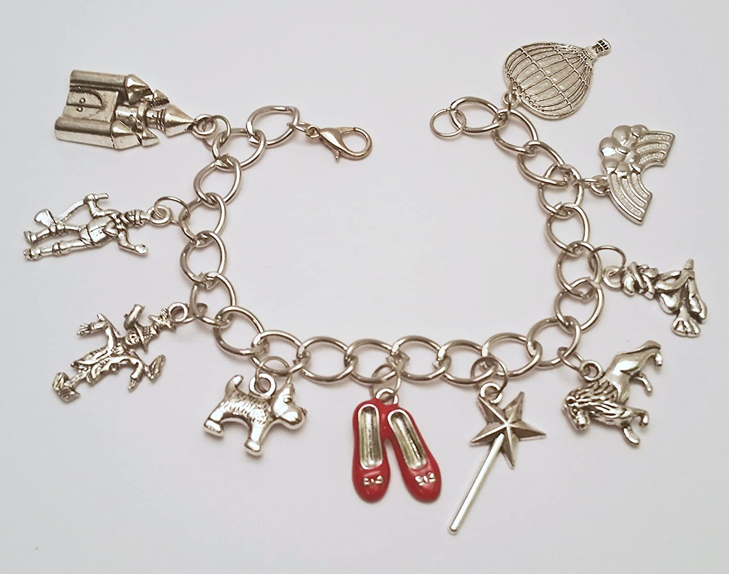 Wizard of Oz charm bracelet with 20 Wizard of Oz themed charms and 38 hand wrapped oil slick metallic rainbow beads