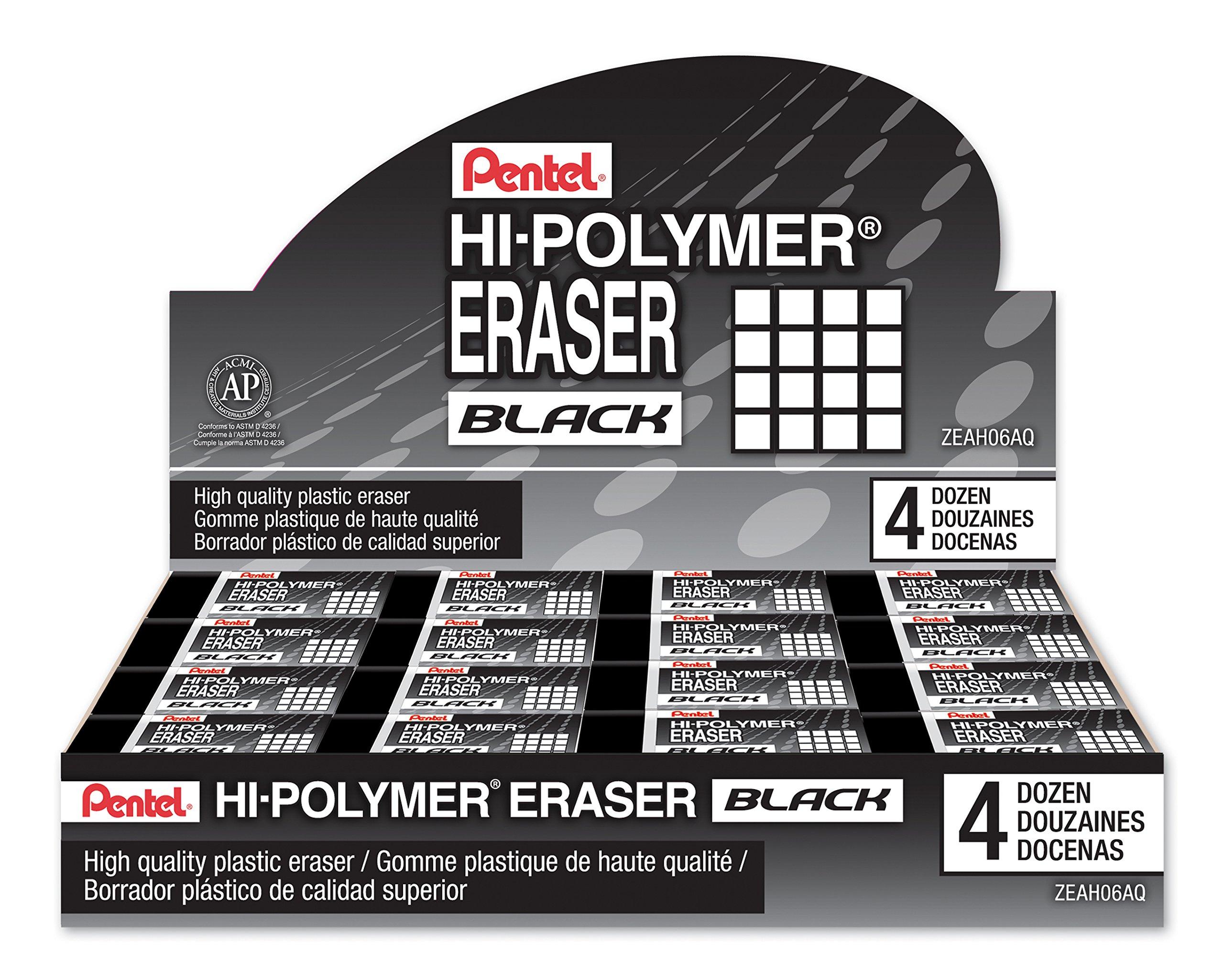 Pentel Hi-Polymer Block Eraser, Small Black 48 pack (ZEAH06A) by Pentel (Image #5)