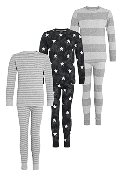 next Niños Pack De Tres Pijamas De Rayas/Estrellas (2-12 Años)