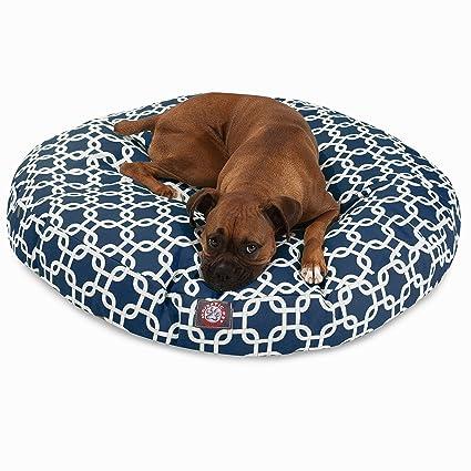 Amazon Com Navy Blue Links Large Round Indoor Outdoor Pet Dog Bed