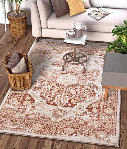 Well Woven Millie Tribal Copper Rust Medallion Area Rug 5×7 5 3 x 7 3 Modern Distressed Oriental Plush Super Soft Carpet