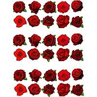 30 obleas comestibles para tartas, diseño de rosas rojas