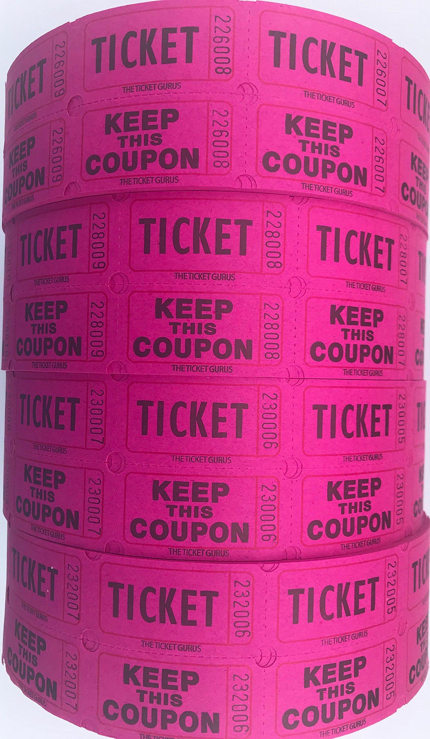 The Ticket Gurus-Raffle Tickets - (4 Rolls of 2000 Double Tickets) 8,000 Total 50/50 Raffle Tickets-(4) Magenta Rolls by The Ticket Gurus