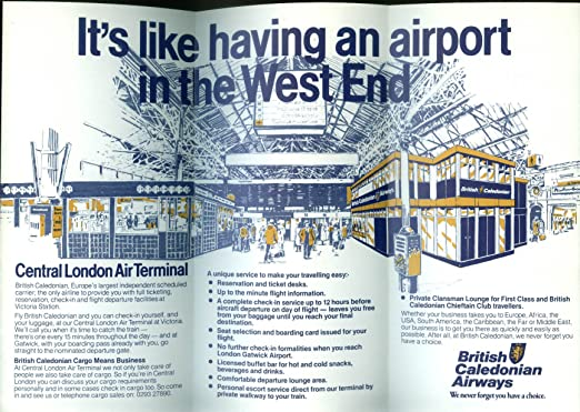 Amazon.com: British Caledonian Airways Central London Air Terminal airline folder 1983: Entertainment Collectibles