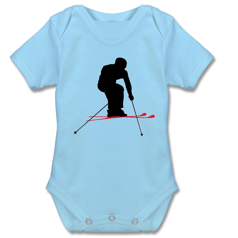 Sport Baby - Skifahren Urlaub - Kurzarm Babybody / Strampler aus Baumwolle für Jungen und Mädchen