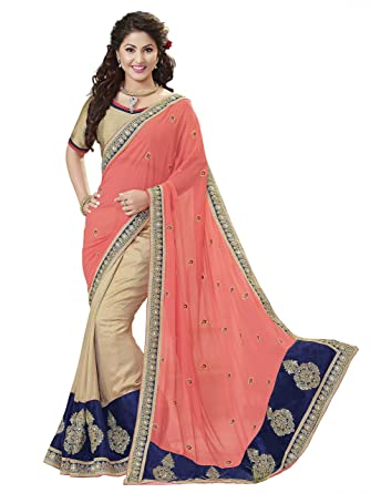 68a843b0b5fd Kvsfab Women s Georgette Embroidered Saree with Blouse Piece ...