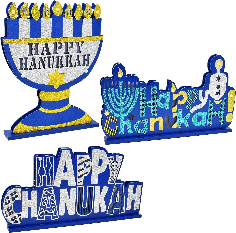 Gift Boutique Happy Hanukkah Table Topper Decorations 3 Pack Happy Chanukah Menorah Dreidel Star of David Centerpieces Jewish Judaica Desk Shelf Display Sign Party Decor Accessories