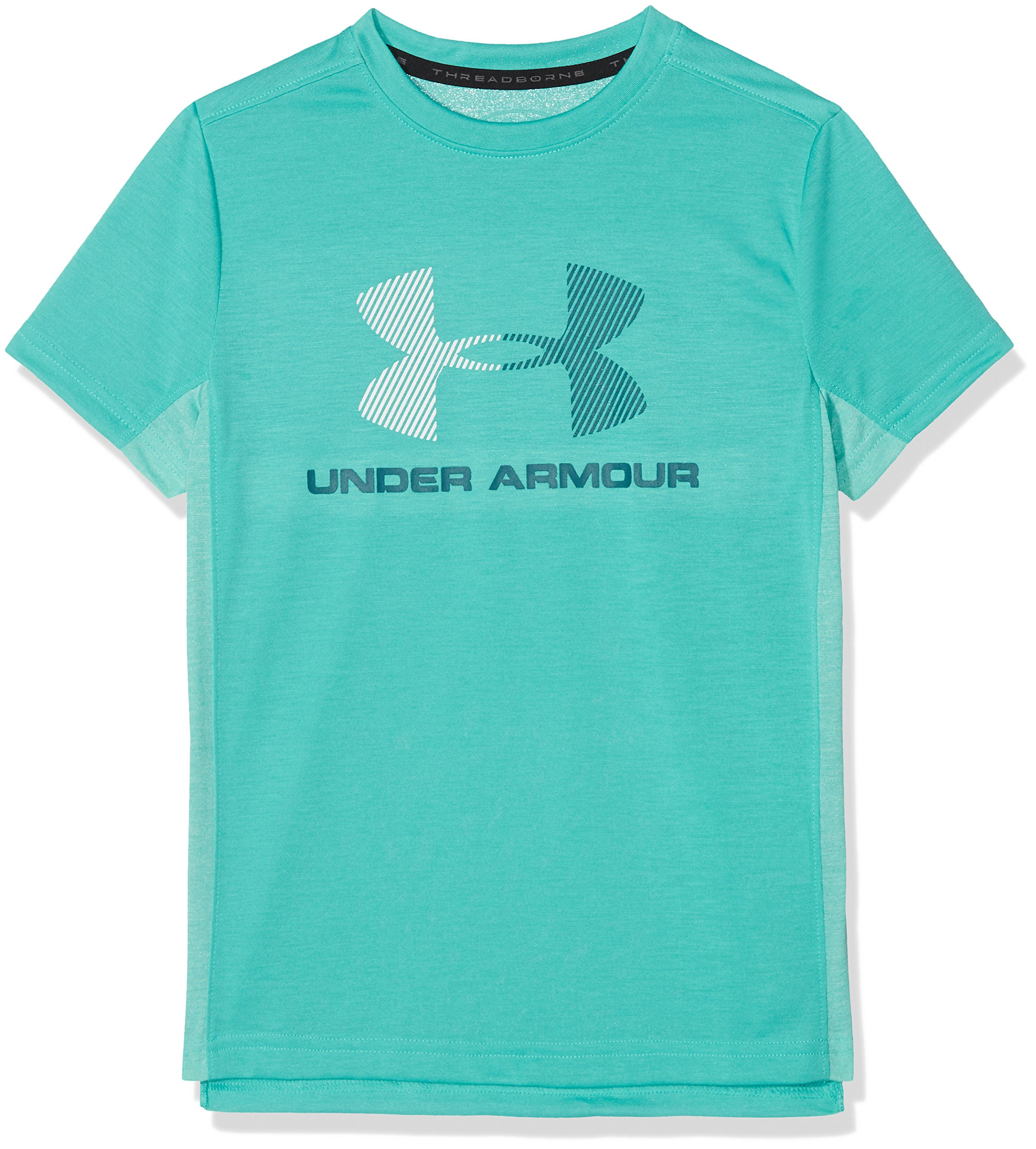 Under Armour Boys' Threadborne Tech T-Shirt, Teal Punch (594)/White, Youth Large