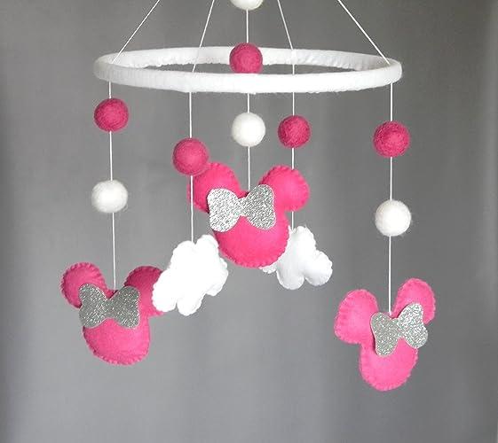 Minnie mouse baby girl nursery trendy minnie mouse pretty in pink piece nursery set via etsy - Minnie mouse mobel ...