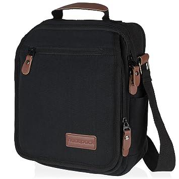 0f991e5fe Vintage, Heavy Duty, Vertical Canvas Messenger Bag, Black with Antitheft  Pocket ~ Wear