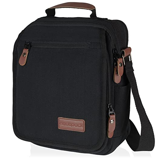 Vintage, Heavy Duty, Vertical Canvas Messenger Bag, Black with Antitheft Pocket ~ Wear Over Shoulder or Crossbody ~ for Business or Urban Travel ~ Gadget Friendly ~ for Teens, Men & Women by NeatPack